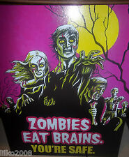 More details for zombies eat brains- you're safe  metal wall sign 41x31cm, spooky/gothic/ghouls