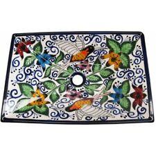 Mexican Talavera Vessel Sink Rectangular Handmade Ceramic Hummingbirds