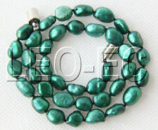 "16"" 10mm Baroque green FW pearls necklace magnet clasp W862"