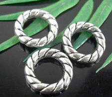 Free Ship 20Pcs Tibetan Silver Twisted Closed Jump Rings 15x3mm