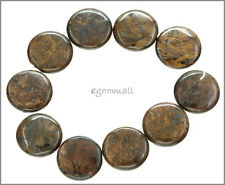 10 Bronzite Flat Round Coin Beads 18mm #85368