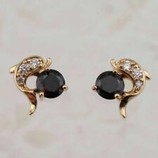 Cute New Yellow Gold Filled Black Onyx & Clear CZ Dolphin Stud Earrings