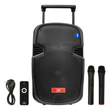 "MX 15"" Multimedia Trolley Portable Speaker Bluetooth USB Aux Wireless Microphone"