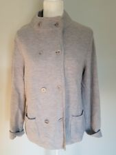 Talbots Petite Large Double Breasted Lambswool Blend Gray Sweater New