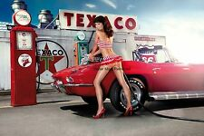 Vintage Pin Up Girl Texaco Corvette 4x6 Glossy Photo Picture Print