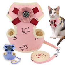 Cat Vest Harness Leash Set Nylon Mesh Puppy Dogs Kitty Padded Bow Knot Vest