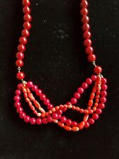 Antique Vintage Art Deco Carved Red Coral w/ Peking Glass Chinese Necklace