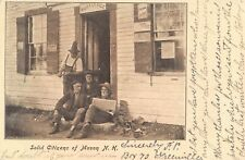 MASON, NH, POST OFFICE, 4 MEN AT ITS DOORWAY, ONE READING NEWSPAPER used 1906