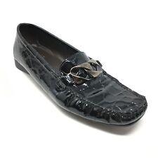 Women's Stuart Weitzman Horsebit Loafers Shoes Sz 7M Black Croc Print Patent AE2