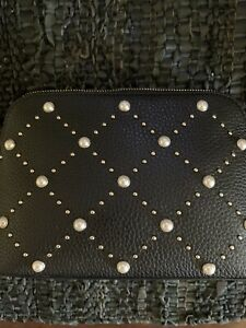 Kate Spade Hayes Street Pearl Small Briley Cosmetic Bag in Black NWT
