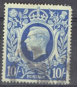 Great Britain.  KGVI.  1939 - 42. 10/- Ultra definitive used.  Scott 251a.