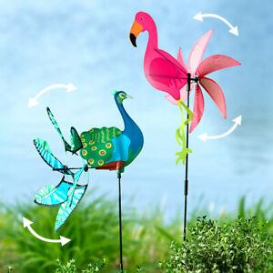 Colorful Bird Wind Spinner Yard Stake Flamingo or Peacock Yard Garden Decoration