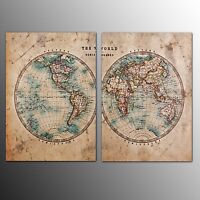 Canvas Prints Canvas Wall Art Painting For Home Decor World Map-2Pcs-No Frame