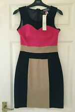 BNWT LIPSY @ NEXT SZ 14 BLACK CAMEL CERISE PENCIL BODYCON STRETCH DRESS NEW