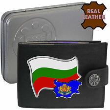BULGARIA Mens Leather Wallet BULGARIAN Flag map Emblem Mans gift България Tin