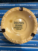DOLPHIN ROOM GALVESTON TEXAS NOS vintage ashtray JAPAN Classic Night Clubs Mint