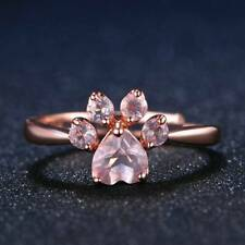 Women Cute Cat Dog Bear Paw Print Rose Gold Resizable Cubic Zircon Rings Jewelry