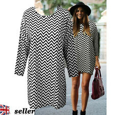 Fashion Womens Ladies Long Sleeve Casual Loose Stripe Blouse Shirt Dress