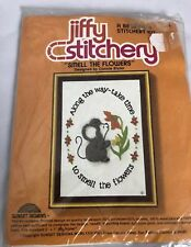 """Jiffy Stitchery """"SMELL THE FLOWERS"""" Embroidery Kit Vintage Flowers MOUSE 5 X 7"""