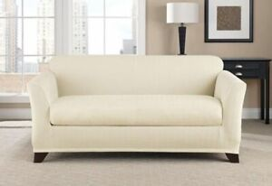 Sure Fit chrevon Ivory/Cream  two piece sofa