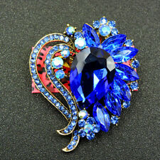 Wings Charm Women's Brooch Pin Gift Betsey Johnson Dark Blue Crystal Lovely