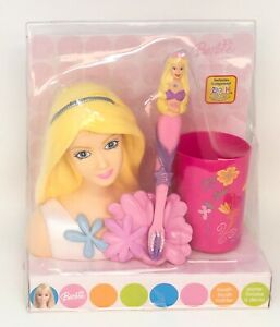 Mattel Barbie Toothbrush Holder Toothbrush and Rinse Cup Pink Floral  *NEW*