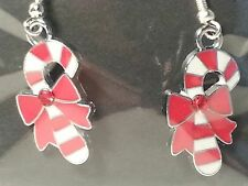 Red, & White Christmas Candycane & Bow Drop Style Hook Earrings -Fashion Jewelry