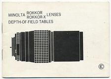 Minolta Rokkor Rokkor-x tab.di profondità di campo E34