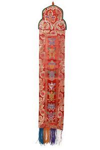 Bermoni Tibetan Silk Brocade Wall Hanging With 8 Auspicious Lucky Symbols