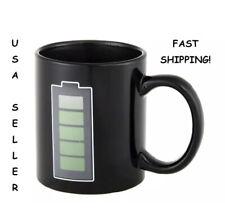 NEW MUG CUP BLACK COFFEE MUG TEA BLK MAGIC BATTERY TEMPERATURE COLOR CHANGING