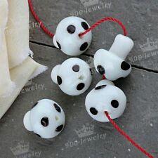20x White Mushroom Murano Lampwork Glass Loose Beads