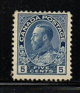 Canada Sc 111 1914 5c dark blue  G V Admiral issue stamp NH  Free Shipping