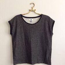 Womens OLD NAVY Short Sleeve Sweater Sweatshirt Rolled Cuff Gray Shirt Sz Medium
