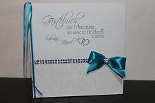 Hardcover Gästebuch zur Hochzeit , weiß - türkis