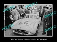 OLD LARGE HISTORIC PHOTO OF SIATA 208S BERLINETTA RACE CAR 1952 MILLE MIGLIA 1