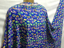 *New*Soft Viscose Blue/Yellow/Green Floral Print Dress/Craft Fabric*FREE P&P*