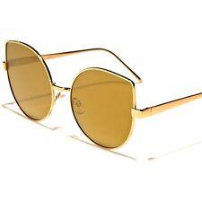 Designer Fashion Foxy Oversized Womens Gold Mirrored Lens Cat Eye Sunglasses