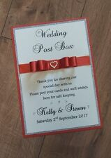 A4 size Handmade personalised wedding post box sign (more colours)