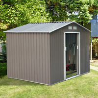 Outsunny 9'x6' Metal Garden Storage Shed Steel Tool House Utility Backyard