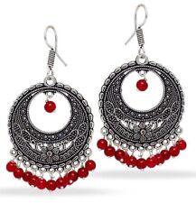 Indian Fashion Party Wear Party Wear Silver Tone Oxidised Bead Hoop Earin