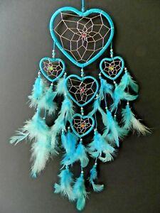 DREAM CATCHER TURQUOISE BLUE SILVER HEART 11cm x 30 GIRLS BOYS DREAMCATCHER