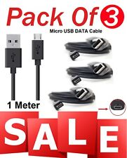 Pack of 3 Black USB Micro Sync Cable Charger For Amazon Kindle Fire Wifi Kindle