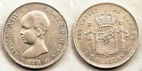 Spain-Alfonso XIII. 5 Pesetas 1891*18-91 PGM. Madrid. MBC+/VF+ Plata 25 g.