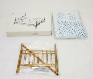 Dollhouse Miniatures Brass Double Bed with Mattress New