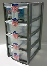 New Plastic 4 Drawer Tower Storage Box Makeup Organiser Kitchen Garage Mini Smal