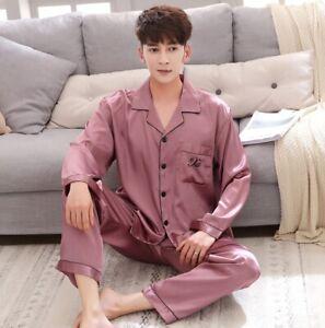 2PCS Mens Silk Satin Pajamas Set Sleepwear Pyjamas PJS Long Sleeve Nightwear New
