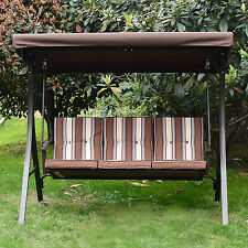 Patio Swing Chair 3 Person Outdoor Garden Hammock Canopy Awning Bench Seat New