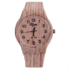 Hot Retro Men's New Vintage Silicone Quartz Wood Wrist Watch наручные часы