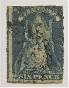 1858 Victoria Australia 6d lightly used Blue Queen Throne Rouletted