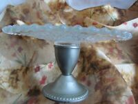 Vintage Pressed Hobnail Glass Cake Stand with White Silver Metal Stand Good